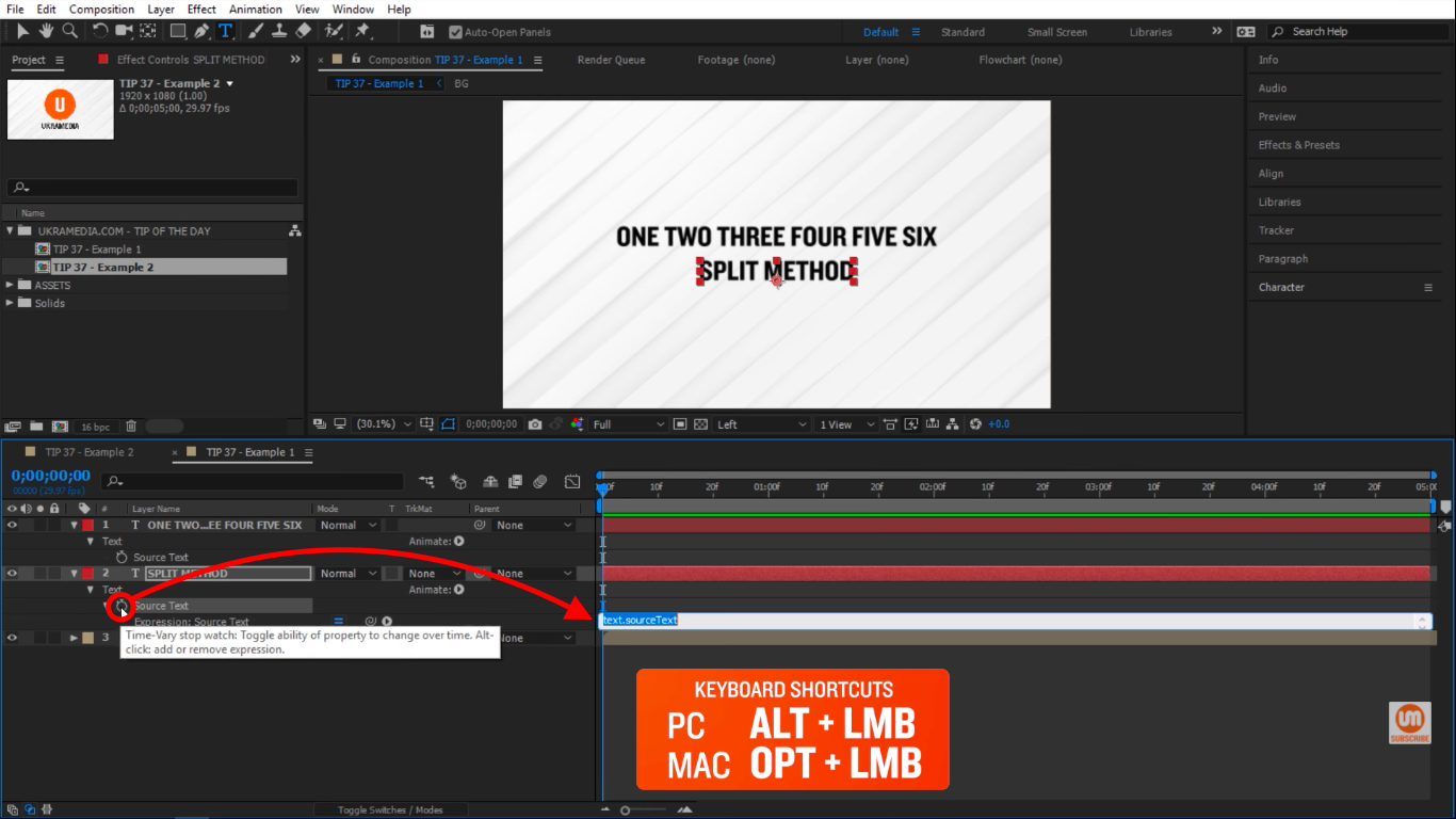 Click on the stopwatch icon in After Effects