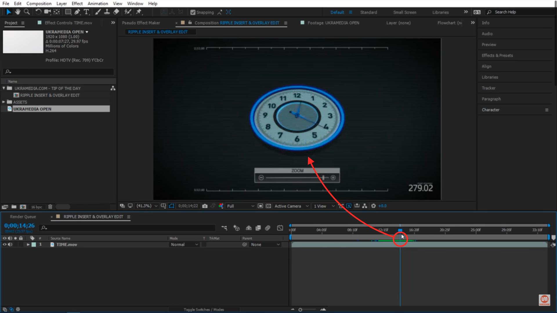 Clock animation placing a clip between shots 1