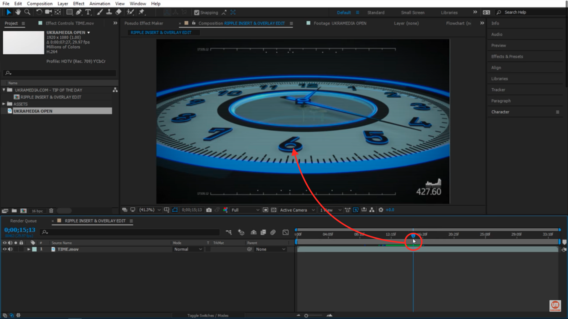 Clock animation placing a clip between shots 2