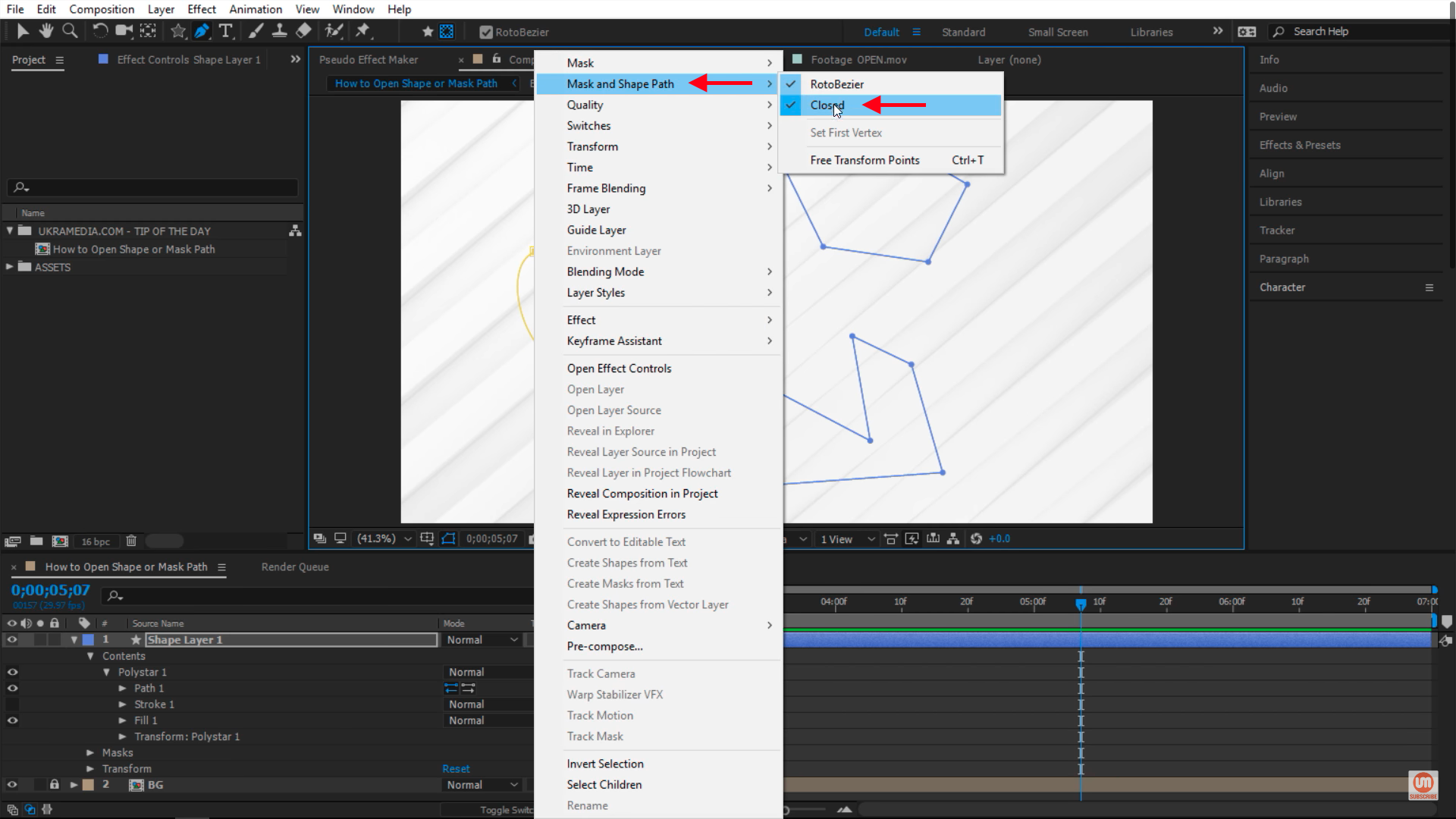 Closed mask paths in After Effects