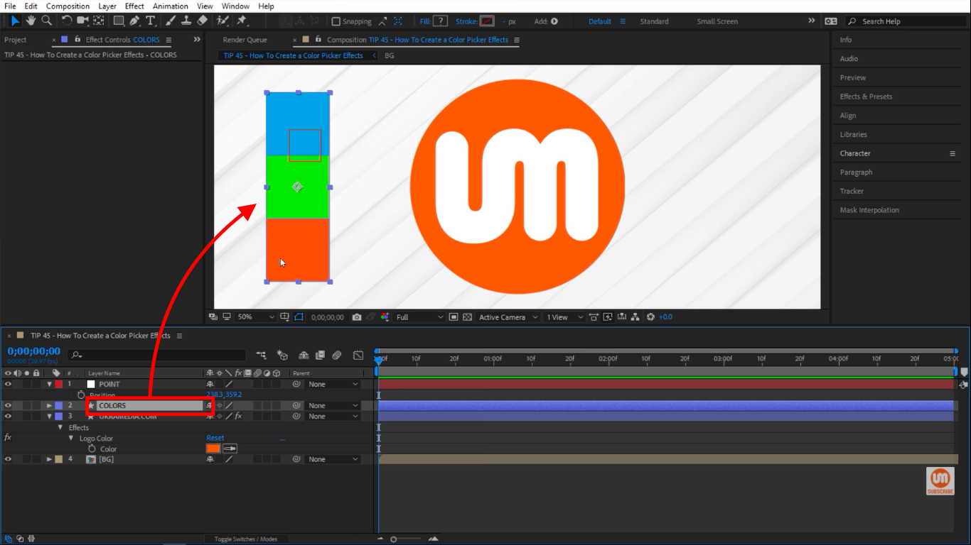 Colors shape layer in After Effects