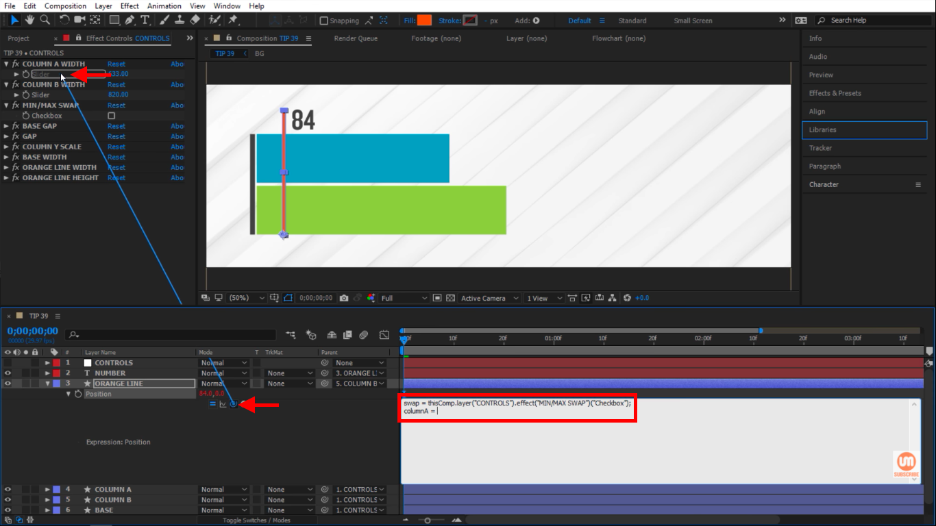 Column A width slider pick whip in After Effects