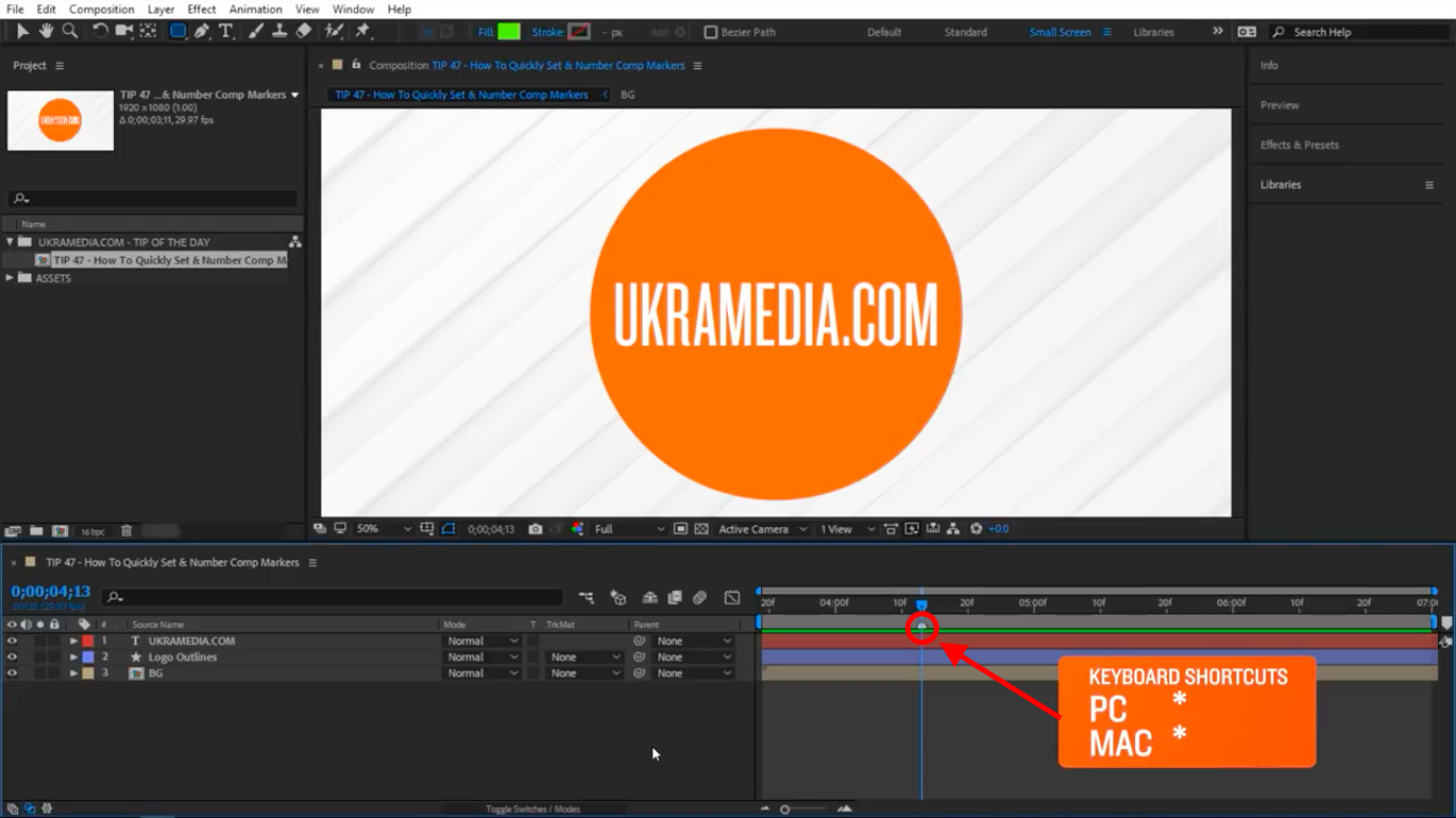 Create a marker in After Effects