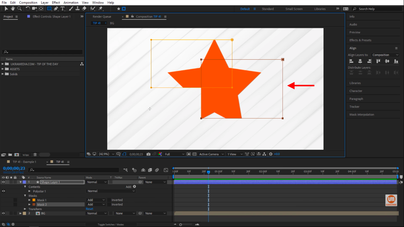 Creating Masks on Top of a Shape Layer in Adobe After Effects
