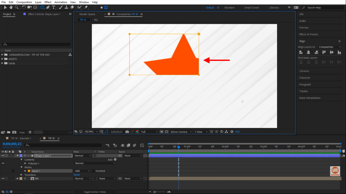 Creating Masks on Top of a Shape Layer in After Effects