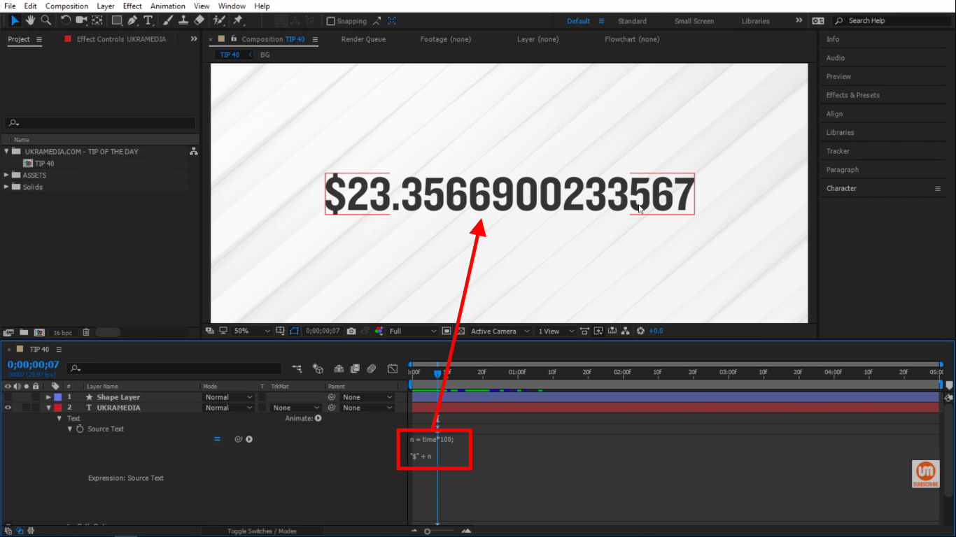 Dollar sign plus value in After Effects