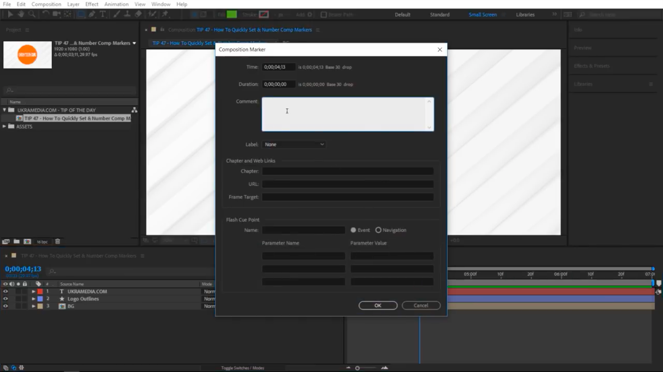 Double click on the marker in After Effects