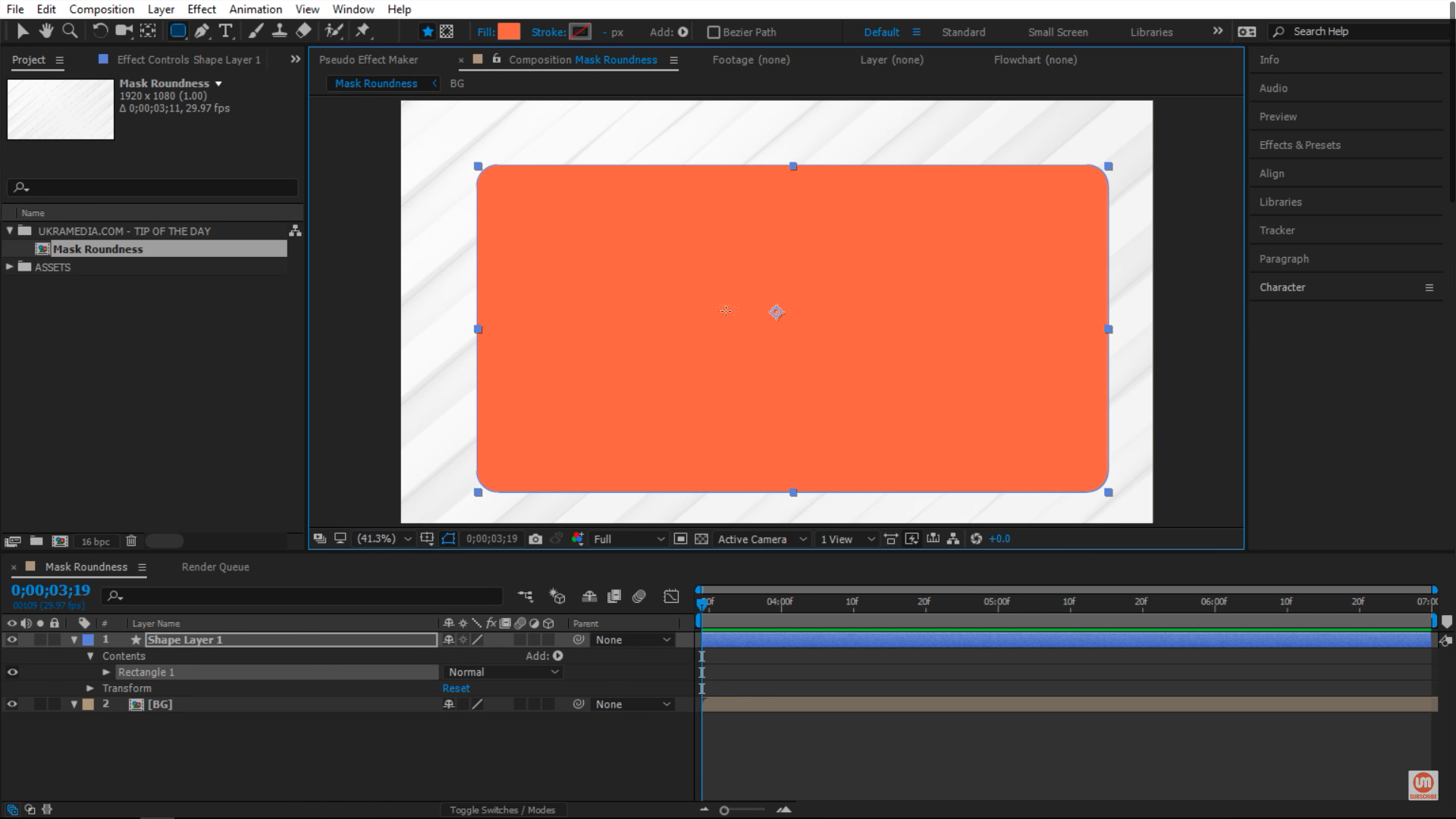 Drawing Rectangle in composition Adobe After Effects