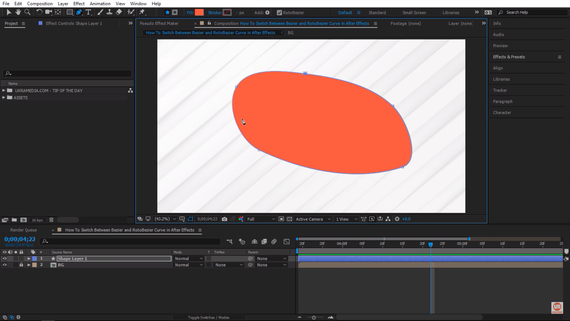 Drawing a mask with RotoBezier in After Effects