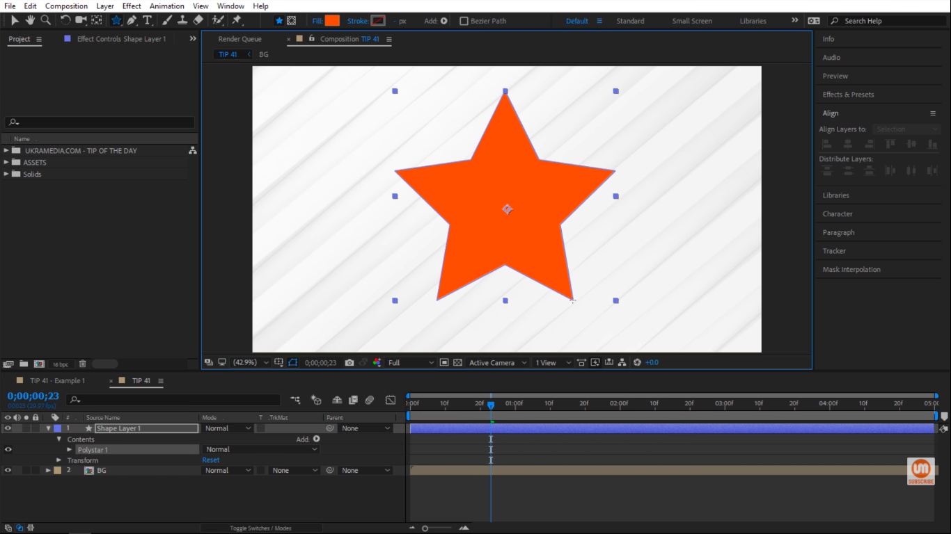 Drawing a star inside of After Effects composition