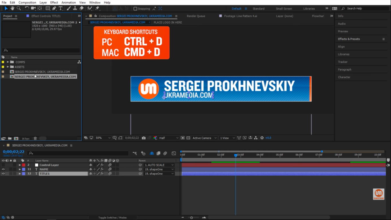 Duplicate Keyboard Shortcut for After Effects