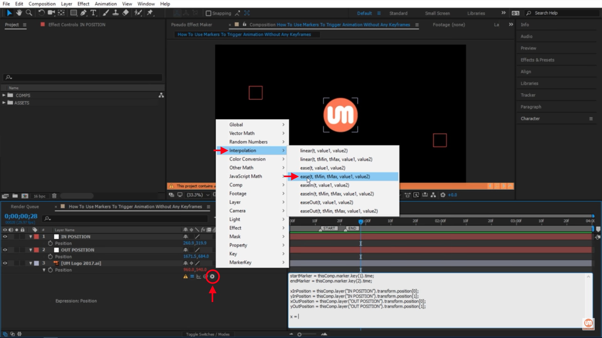 Ease expressions in After Effects Interpolation