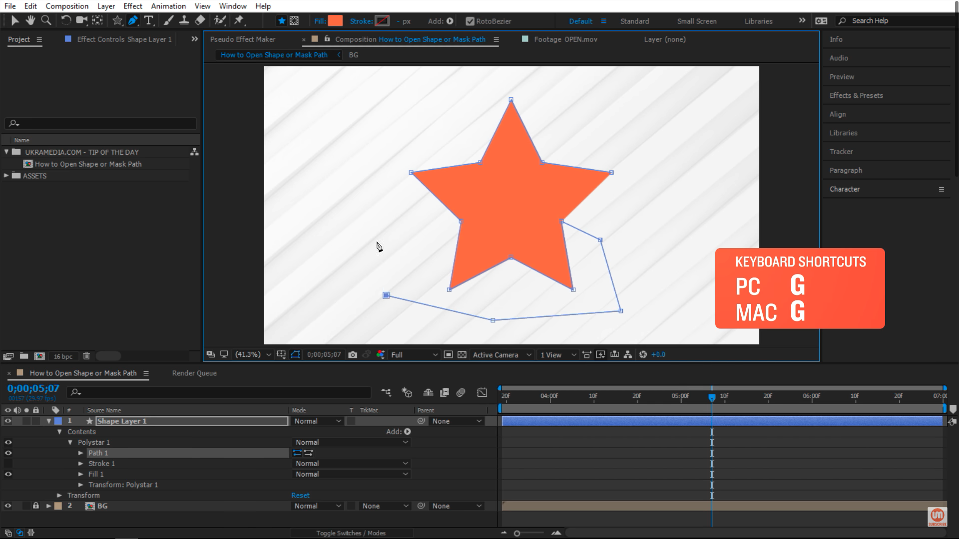 Editing star with pen tool in After Effects