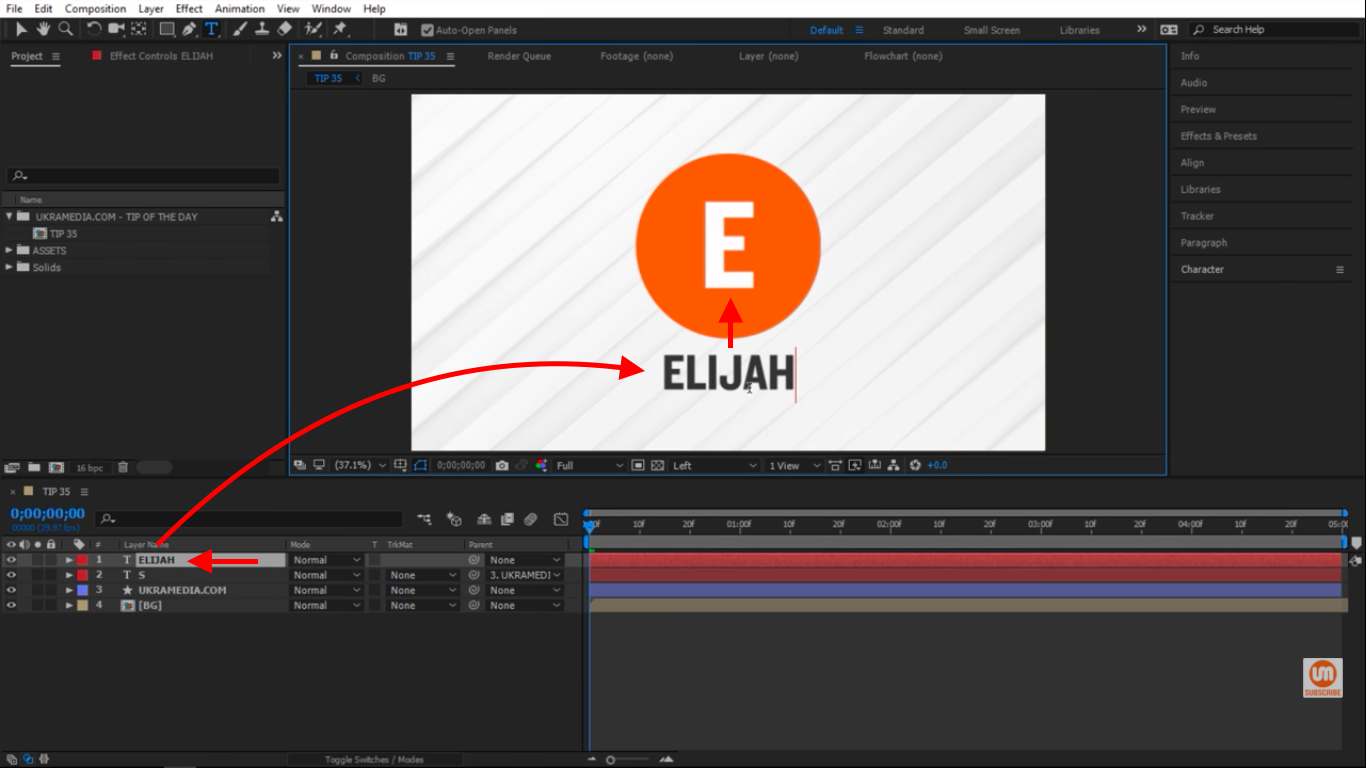 Elijah text change in After Effects