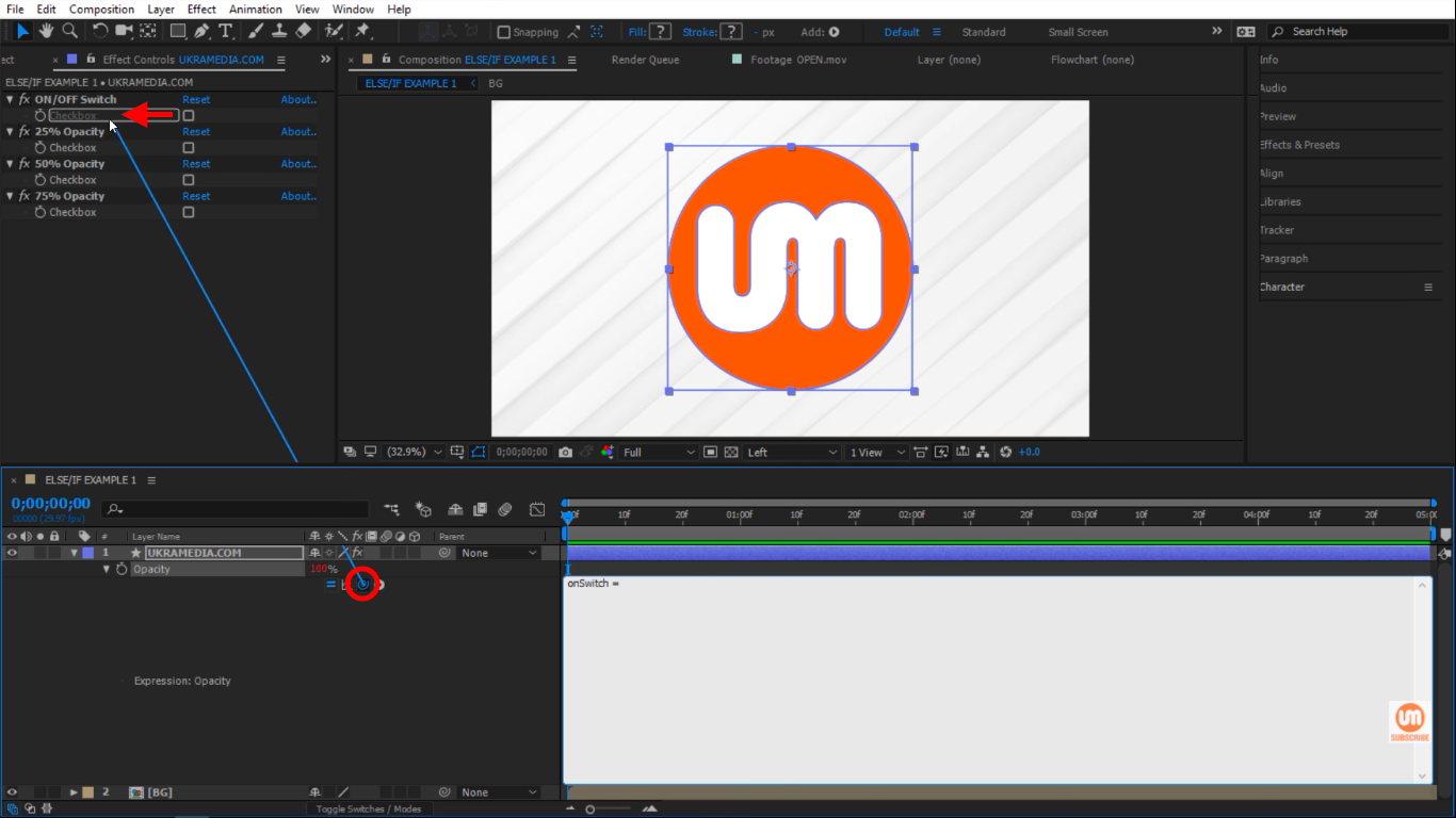 First Variable onSwtich in After Effects