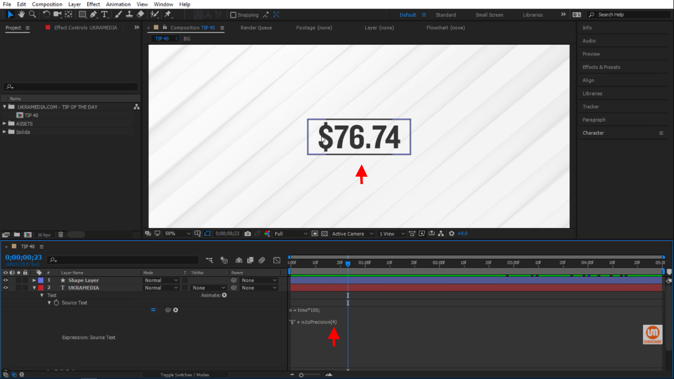 Four digital in After Effects toPrecision