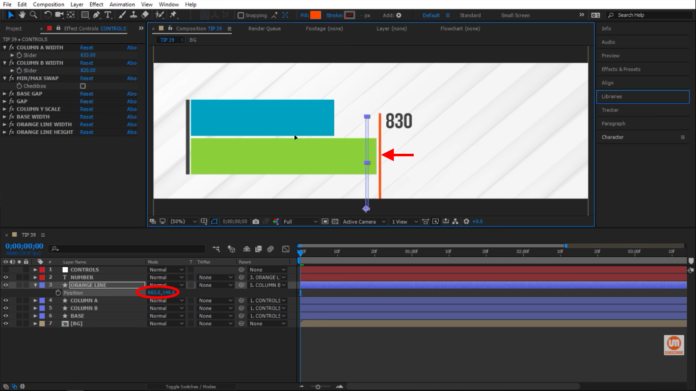 Freely moving the orange line around in After Effects