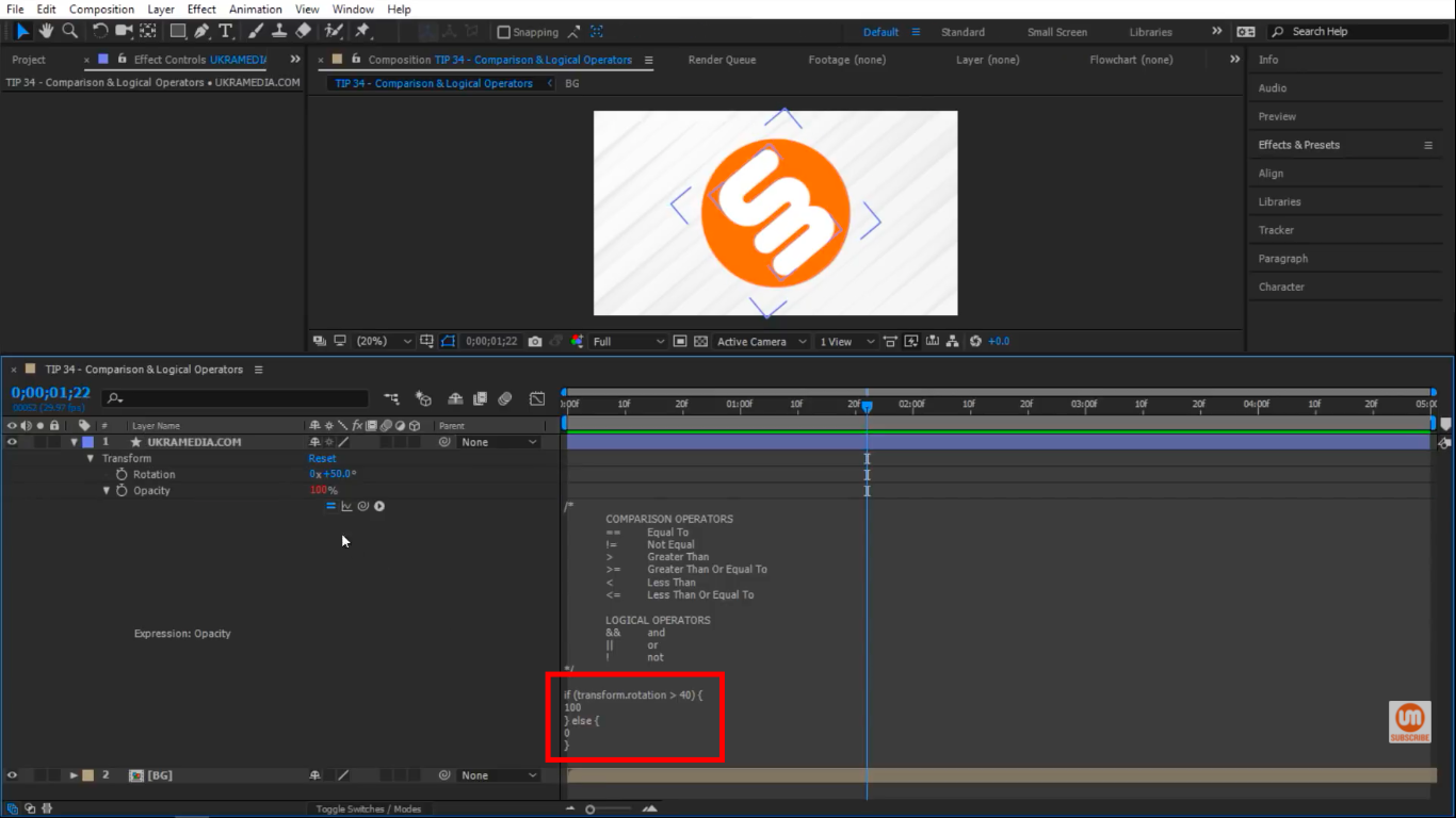 Greater than Comparison Operator in After Effects