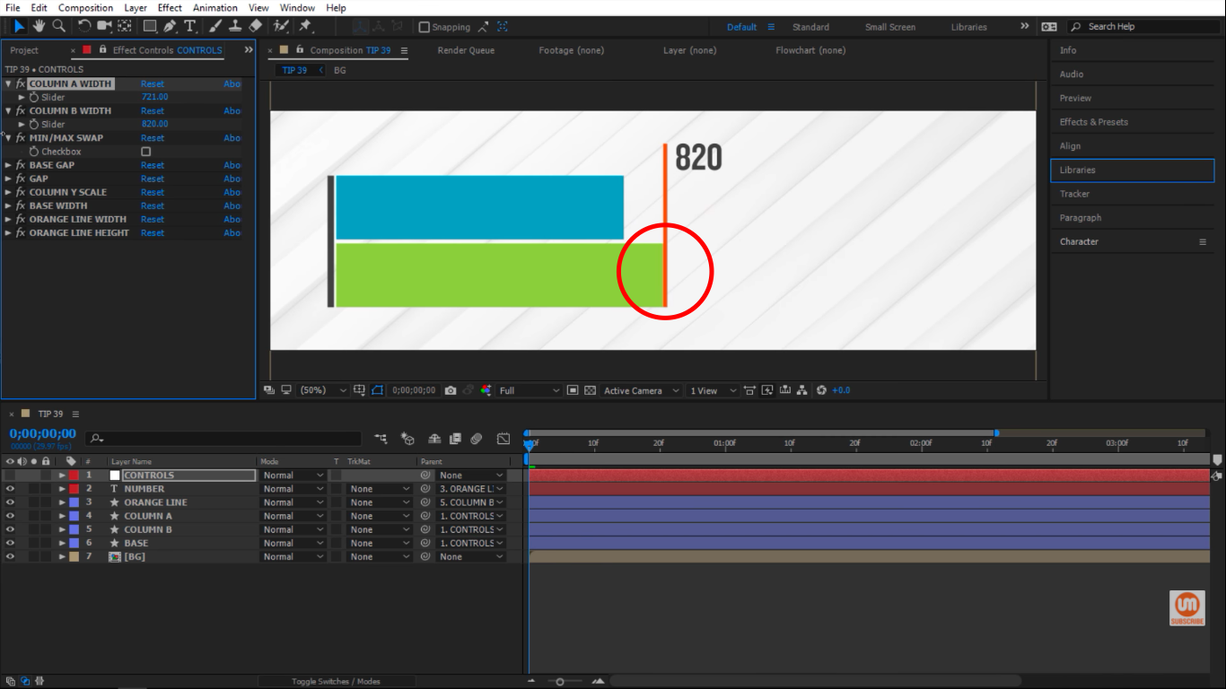 Green column takes the orange line in After Effects