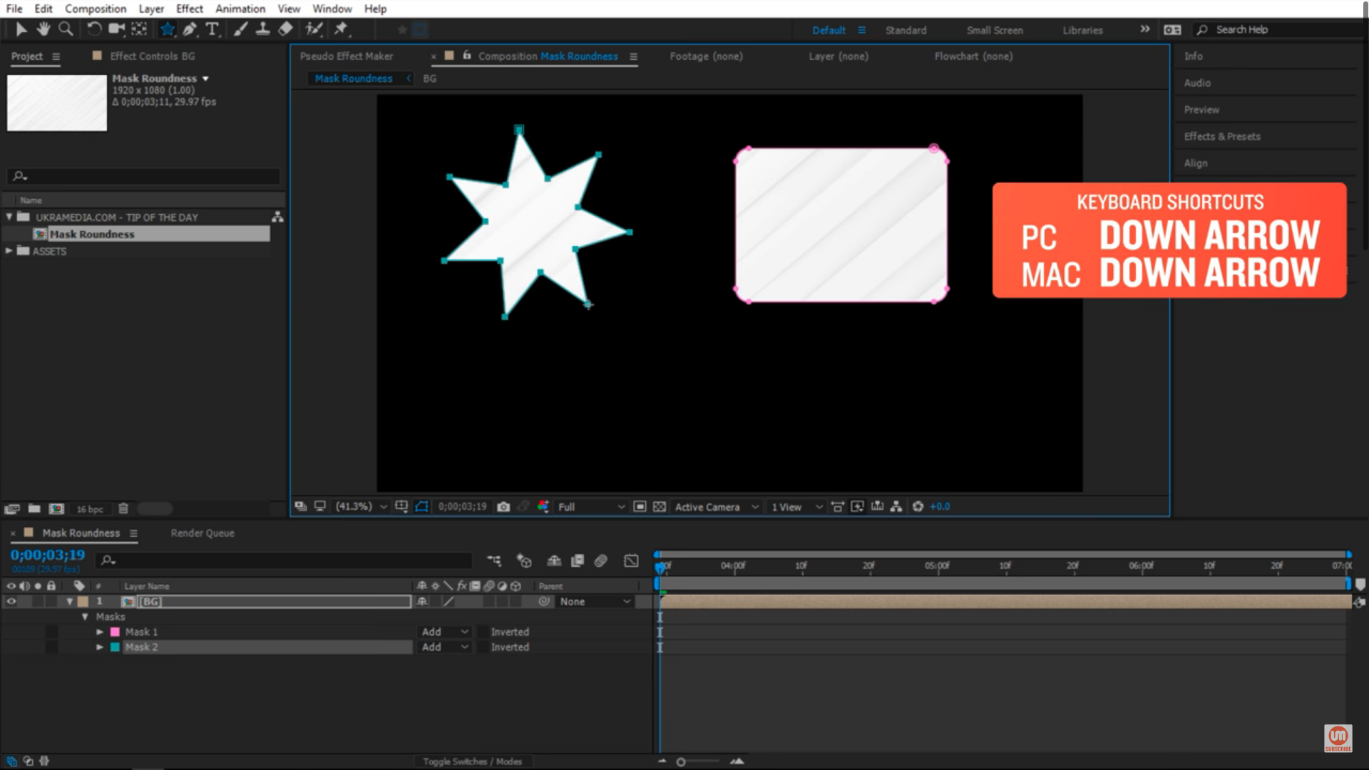 How to decrease points on star tool after effect keyboard shortcut