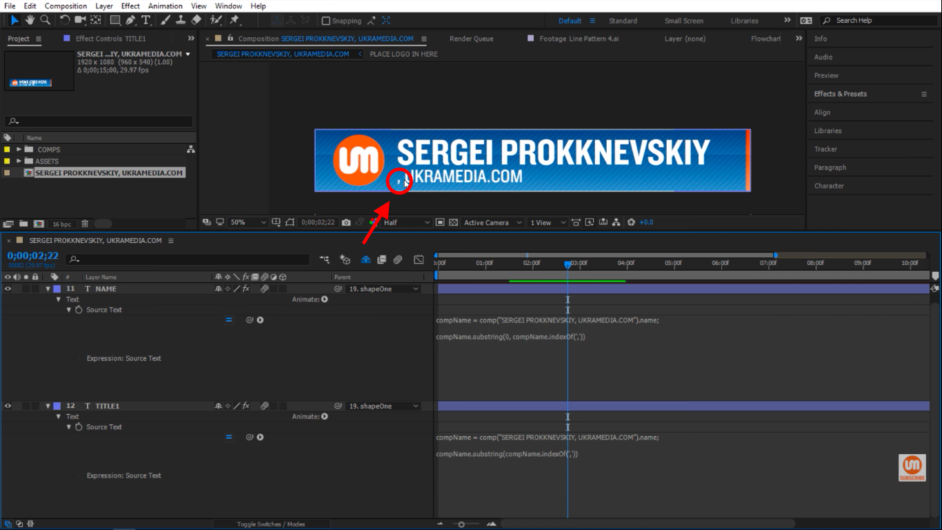 Including index in After Effects