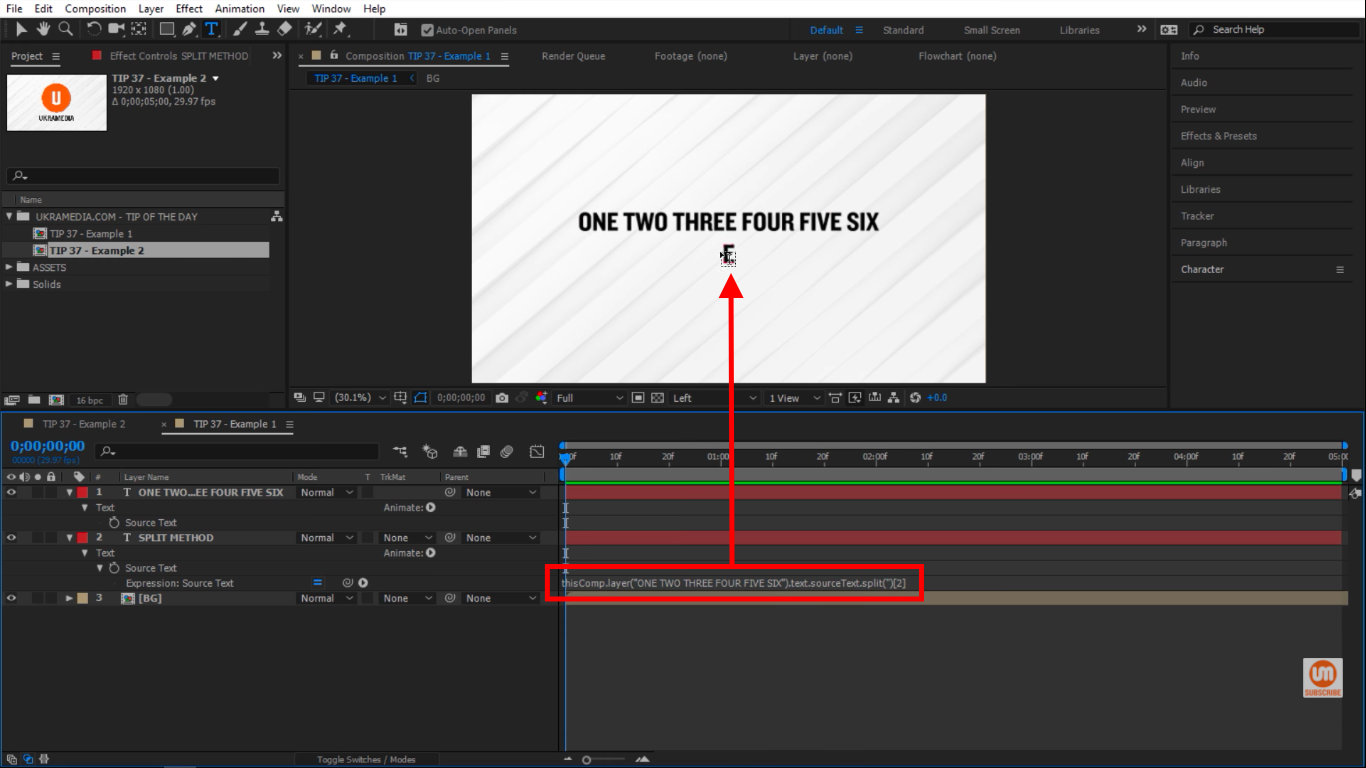 Index 2 is E in After Effects