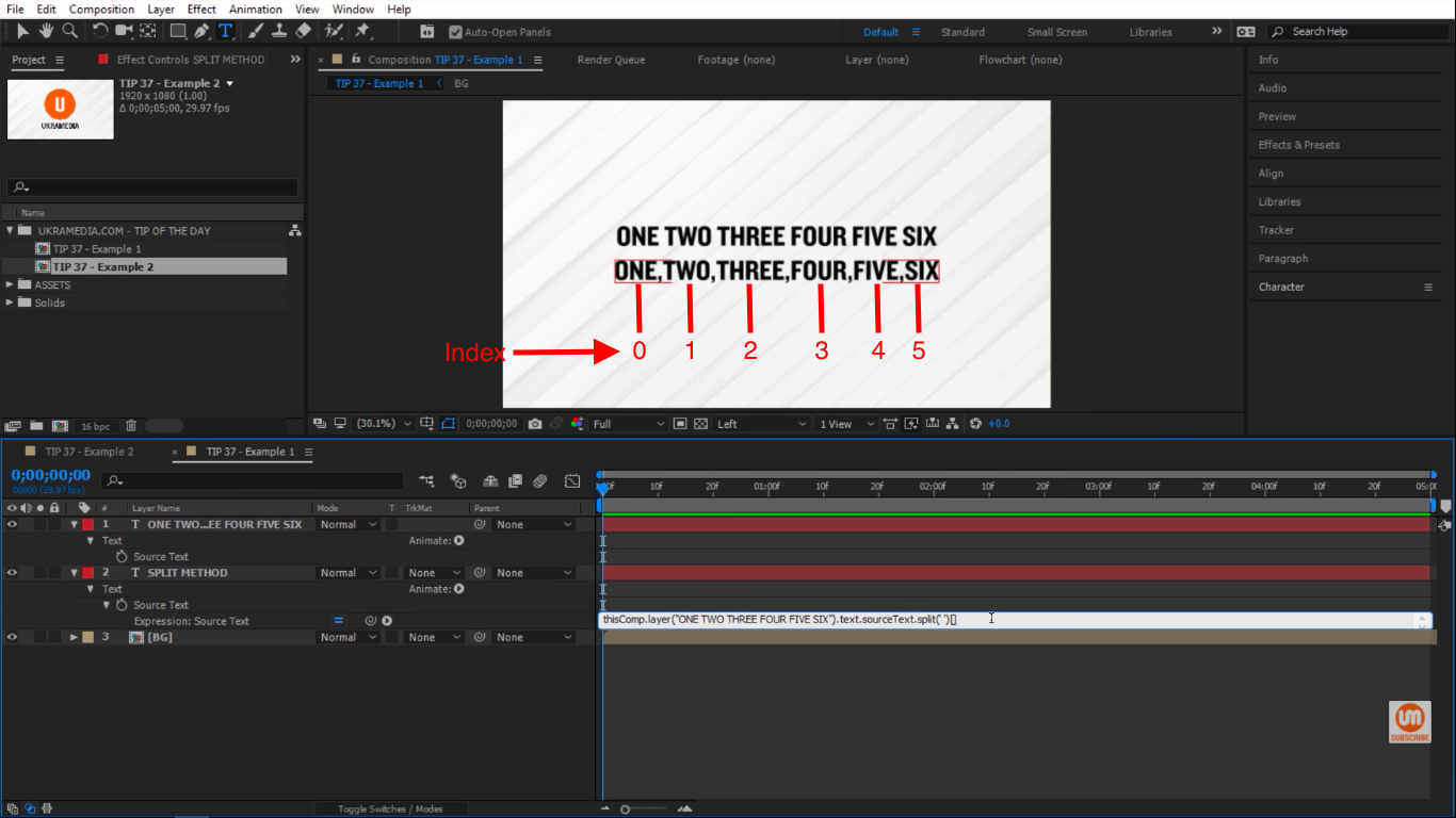 Index count of words in After Effects