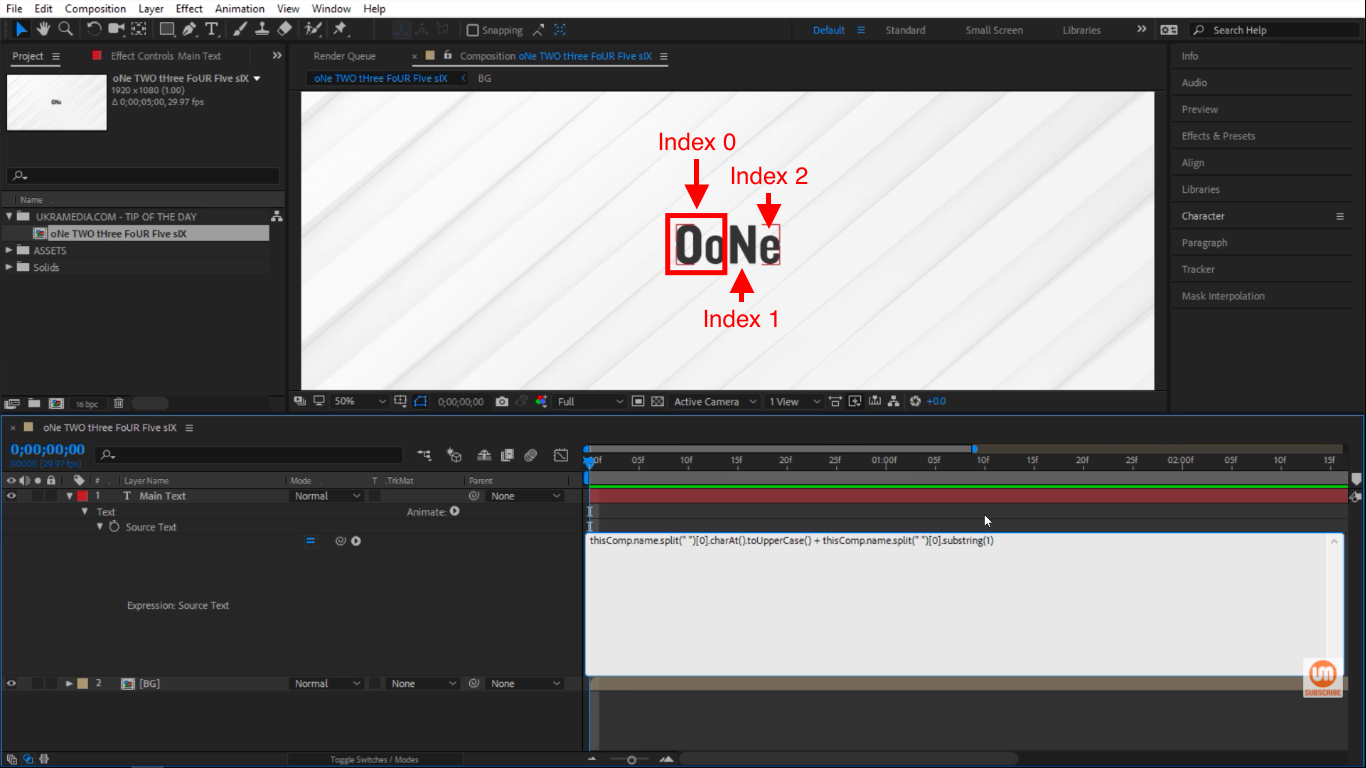 Index in After Effects