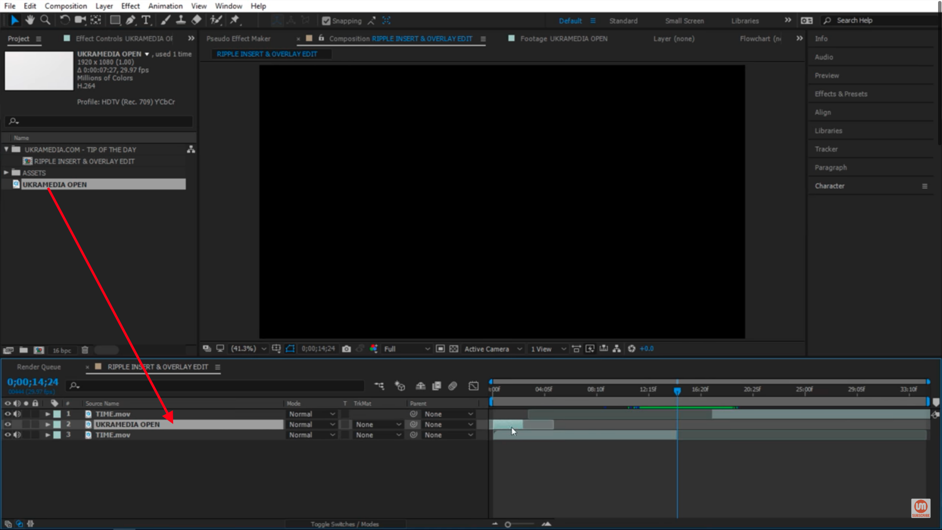Inserting a video footage in After Effects