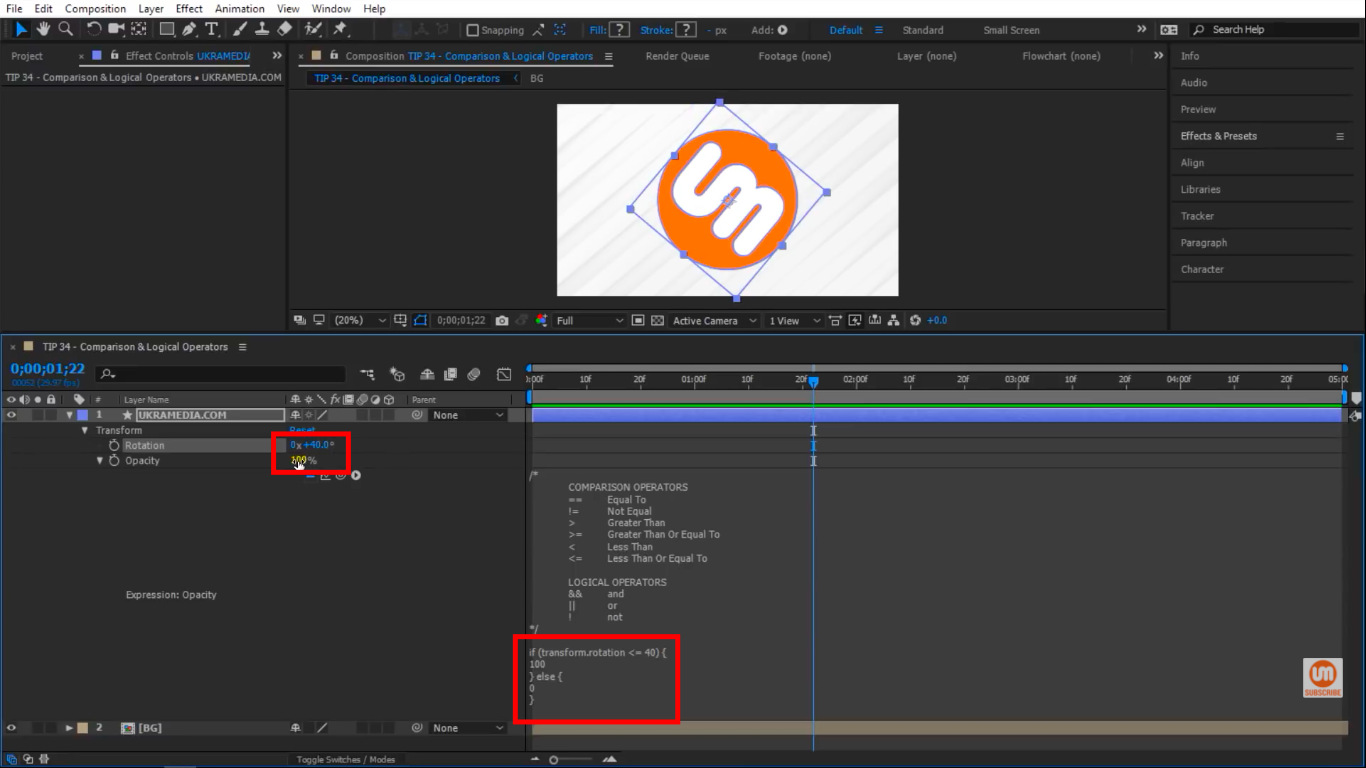 Less Than or Equal To Comparison Operator in After Effects