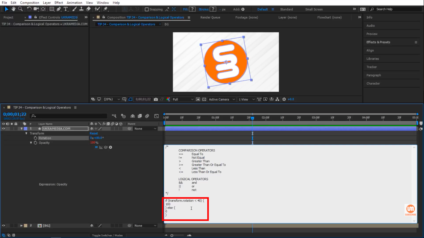 Less Then Comparison Operator in After Effects