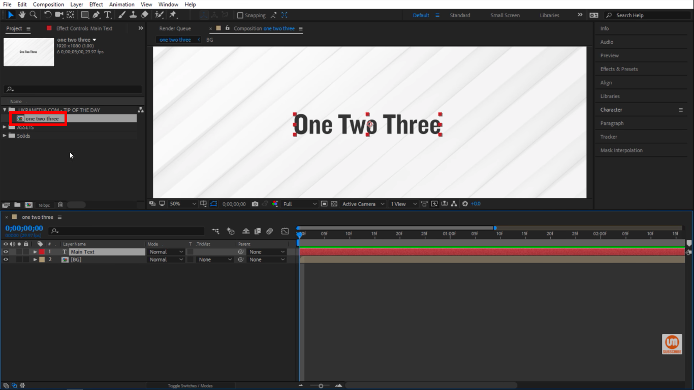 Lowercased title in my composition in After Effects