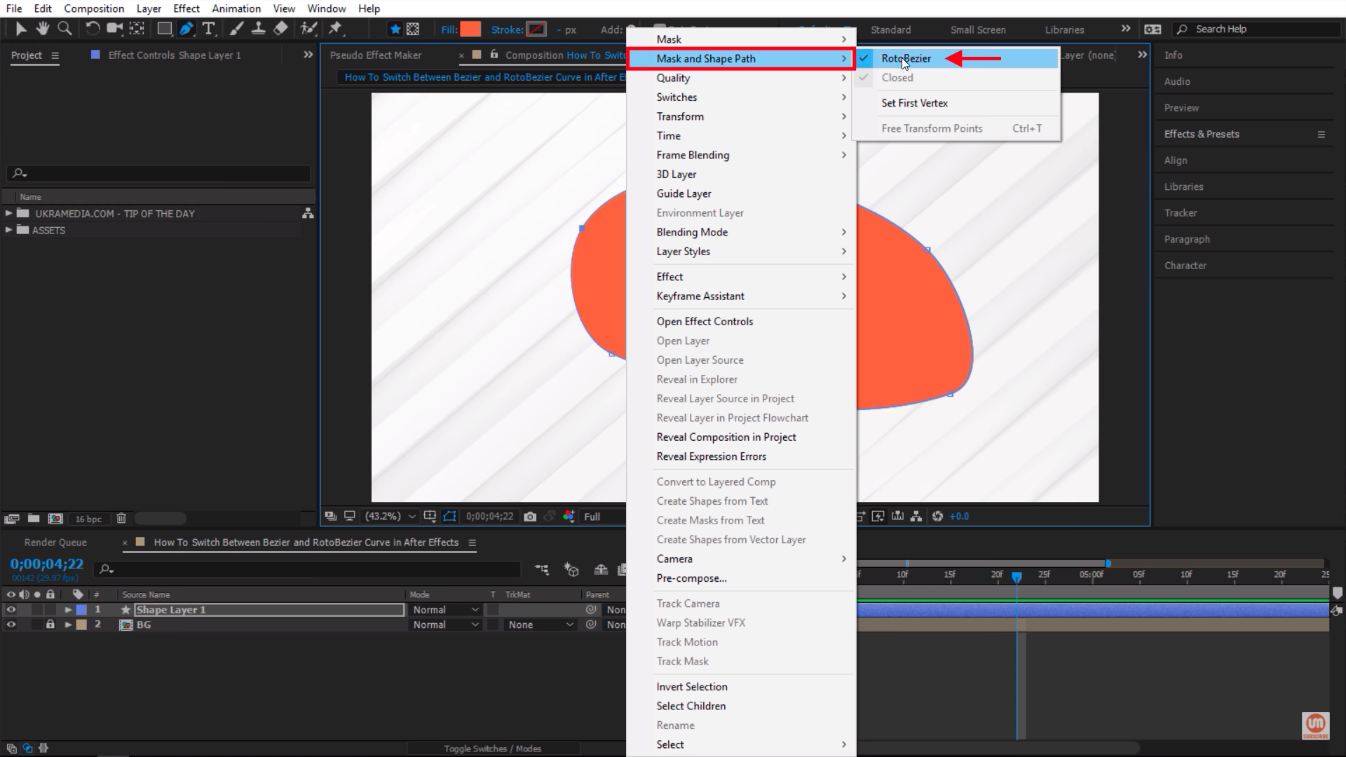 Mask and Shape Path After Effects RotoBezier