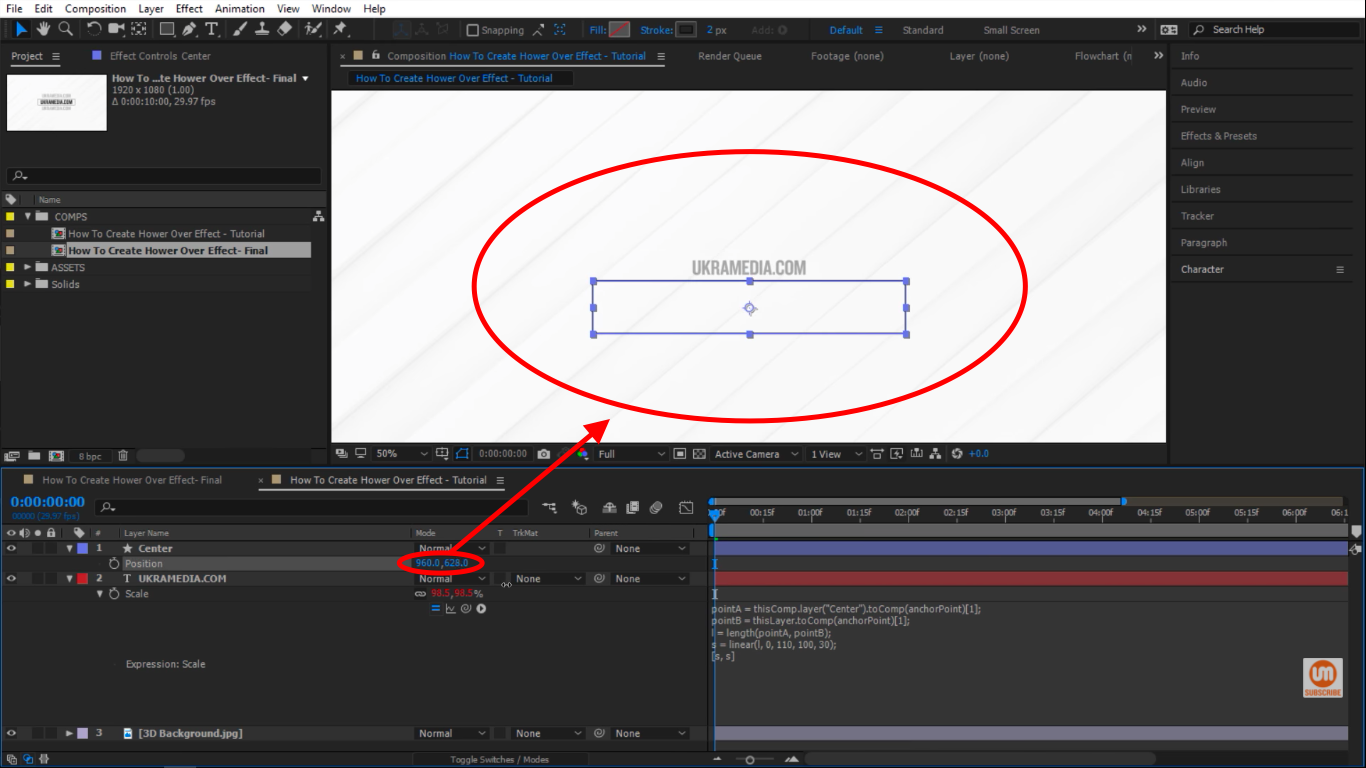 Moving position up and down in After Effects