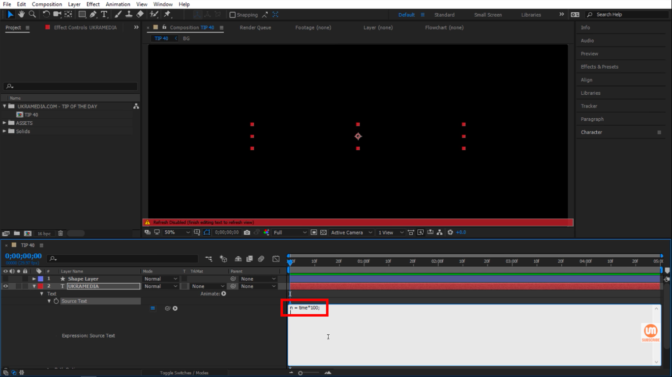 N Variable Time times a hundred in After Effects
