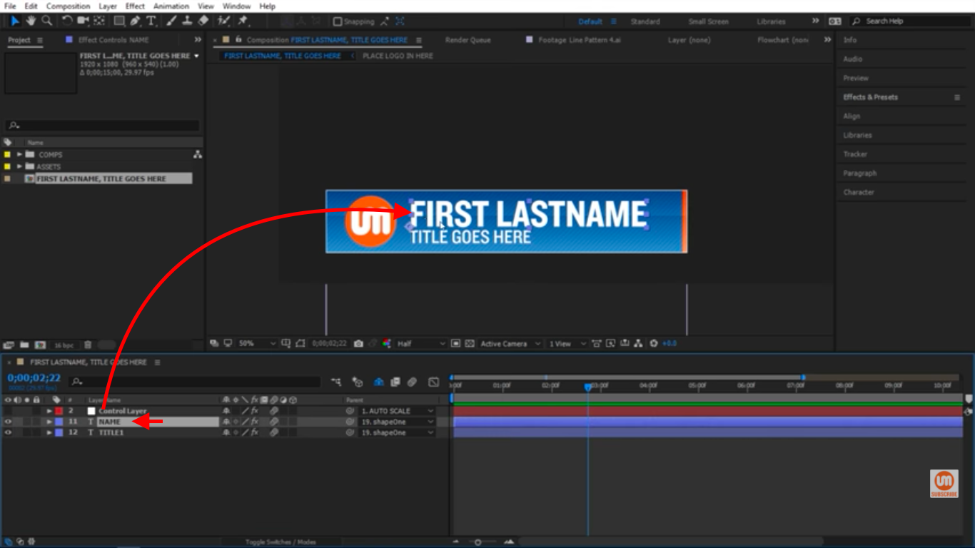 Name Text in After Effects