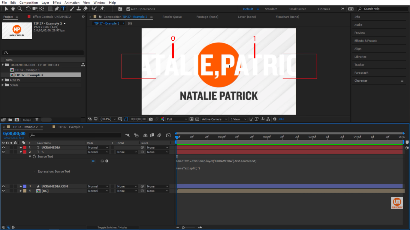 Natalie Patrick index 0 and 1 in After Effects