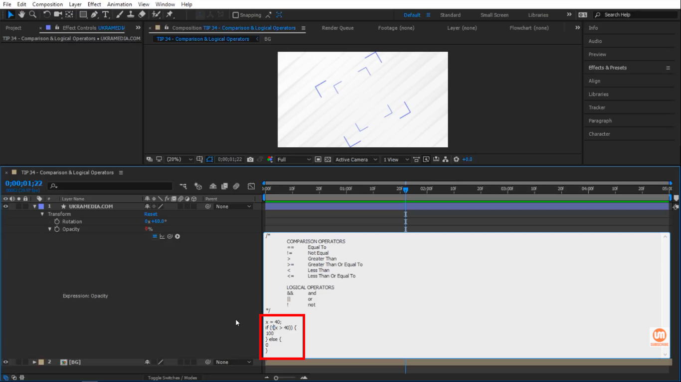 Not Logical Operator in After Effects Example