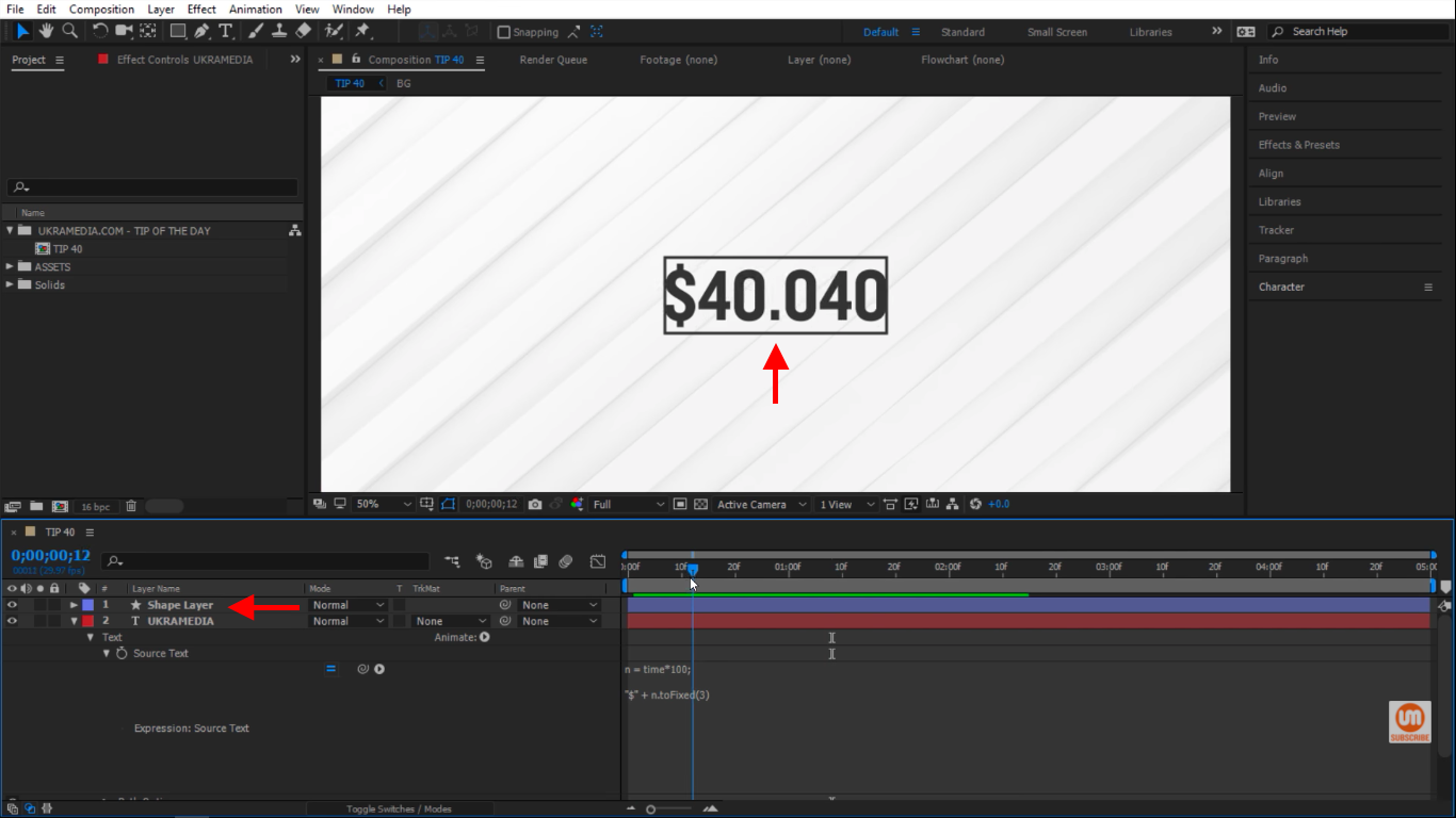 Numbers inside of a border in After Effects