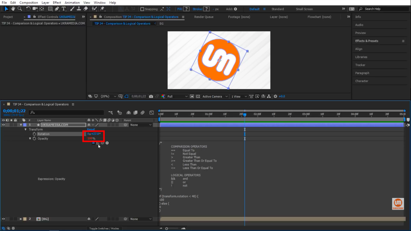 Opacity changed to 100 percent in After Effects