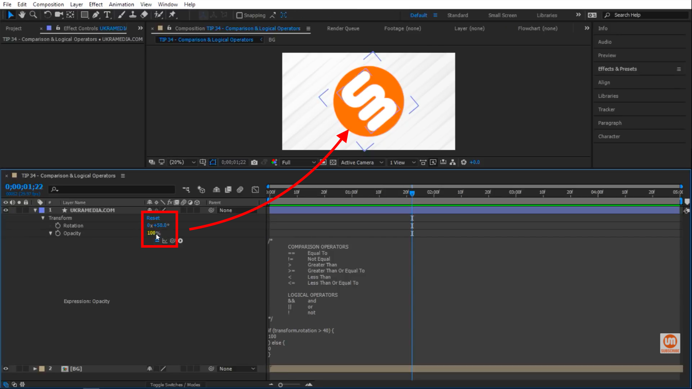 Opacity is at 100 percent in After Effects