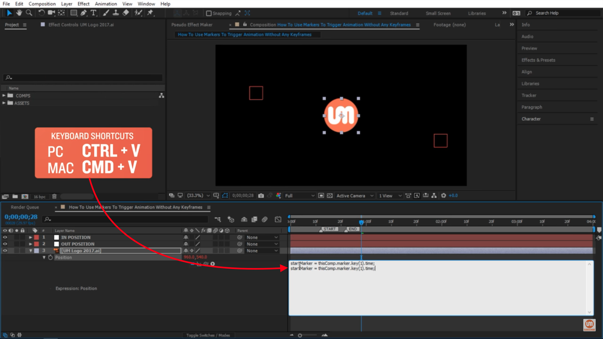 Paste Keyboard Shortcut in After Effects
