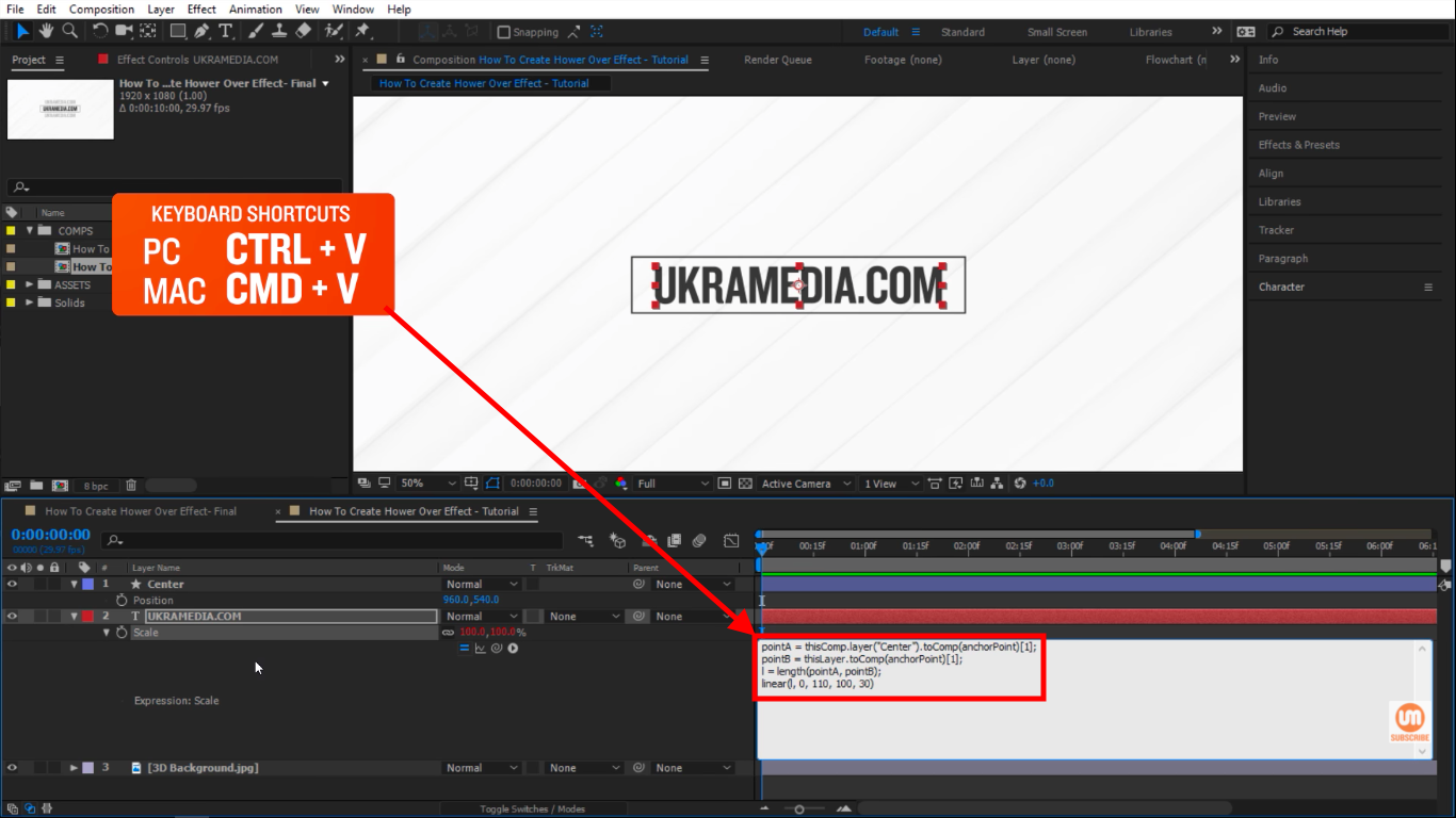 Paste expression keyboard shortcut after effects