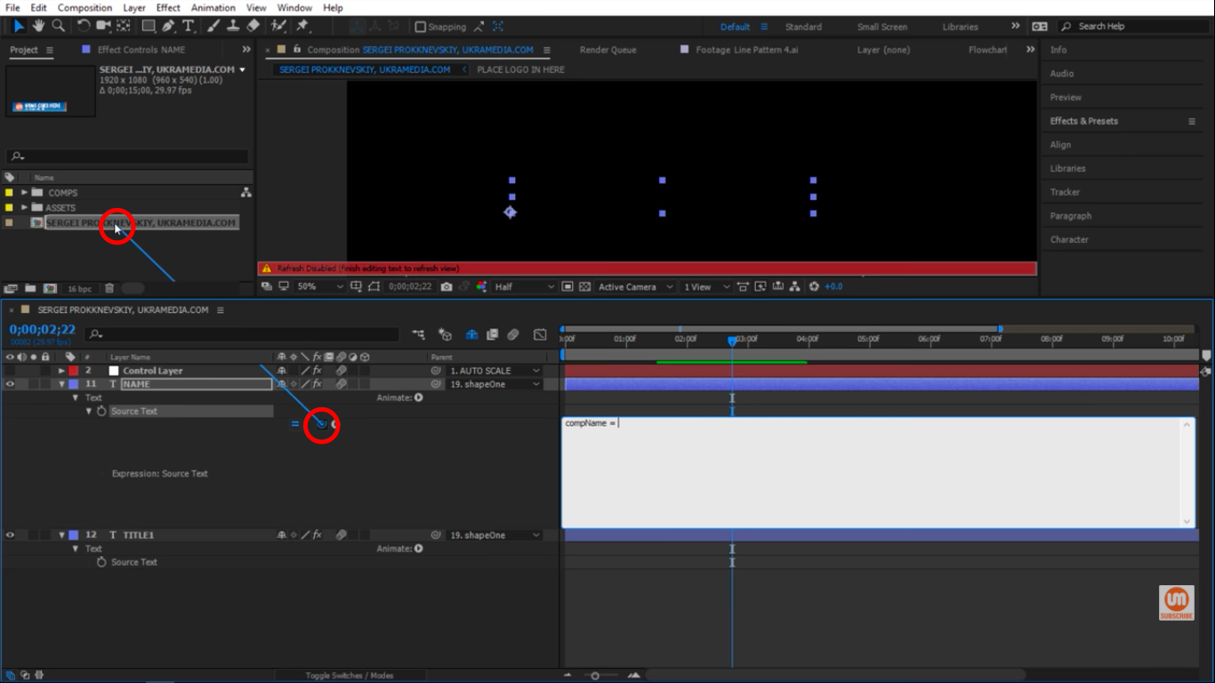 Pick Whip After Effects to Composition