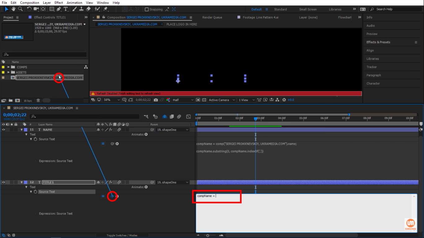 Pick Whip to composition in After Effects
