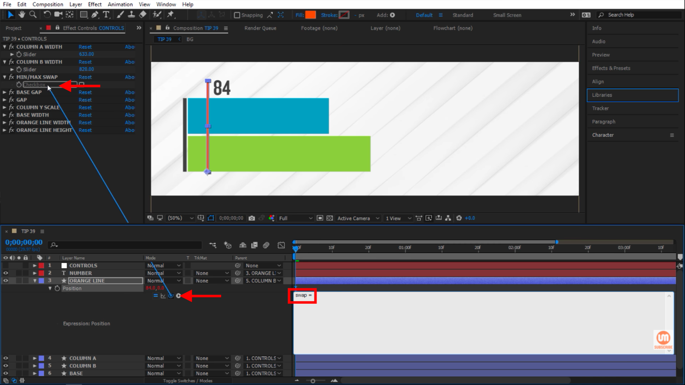 Pick whip to min max swap checkbox in After Effects