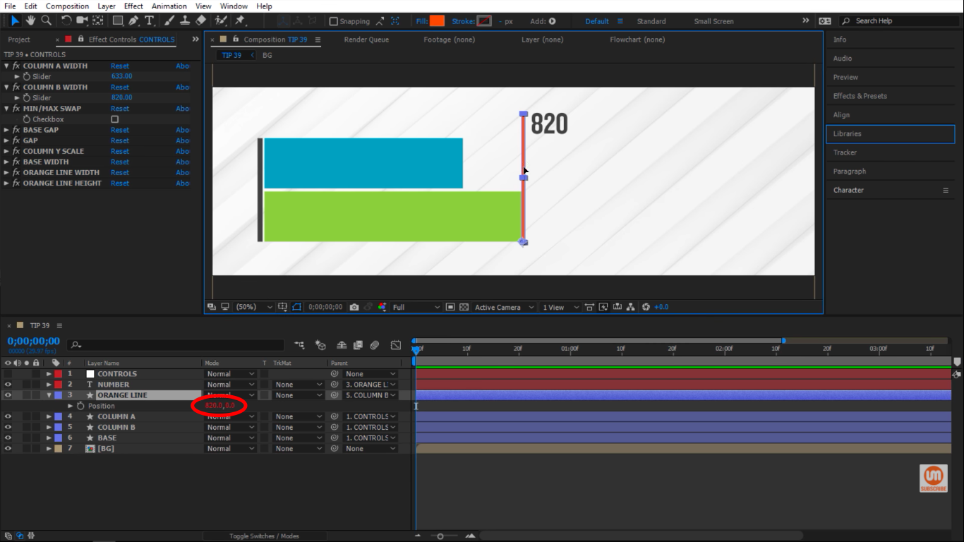 Position has an expression in After Effects