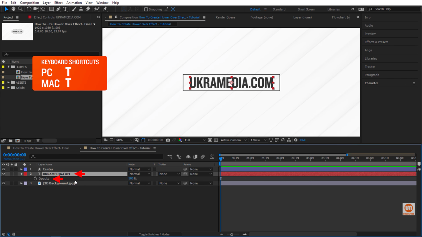 Press T to reveal opacity in After Effects