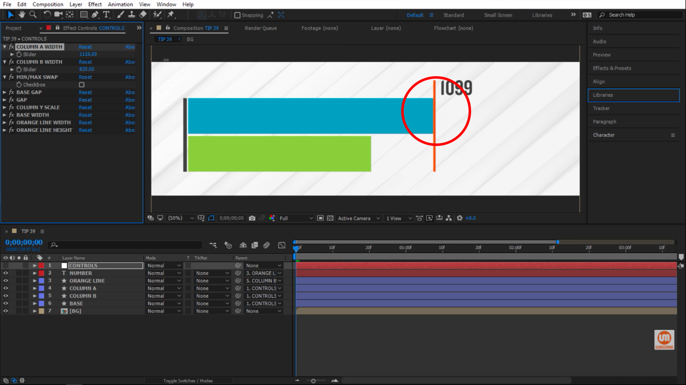Pushing the orange line forward in After Effects