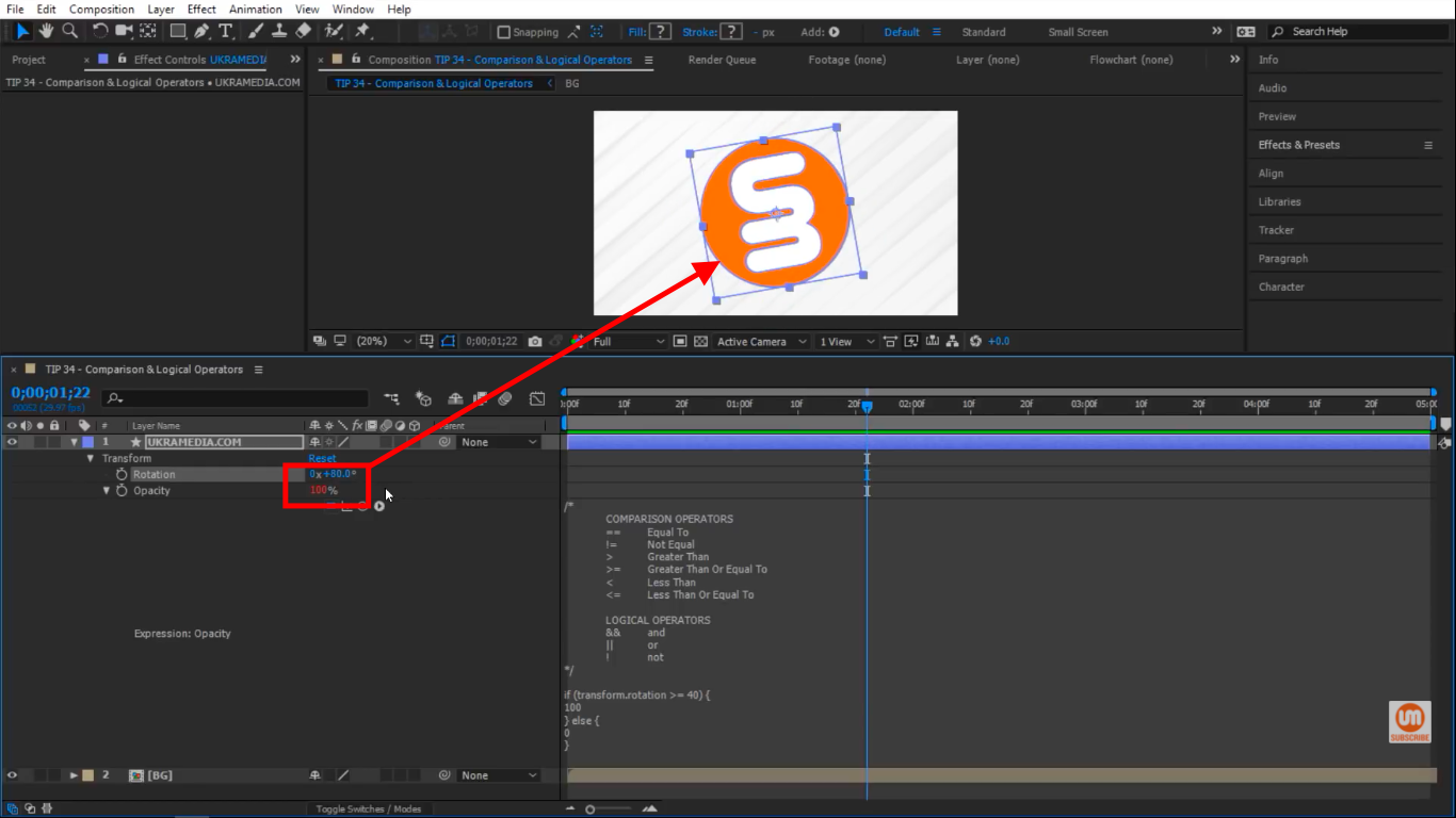 Rotation 40 or above is going to be 100 percent opacity in After Effects